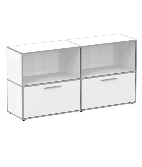metall sideboard weiss oder schwarz 2 klappen weiss duco system. Black Bedroom Furniture Sets. Home Design Ideas