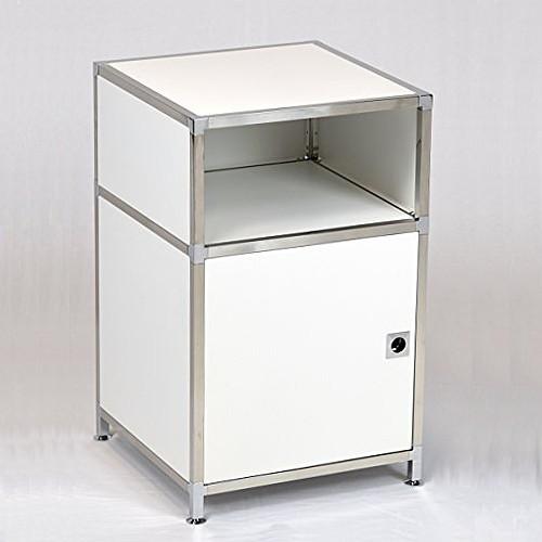 metall nachttisch weiss chrom mit fach t re 40 x 65 x 40 cm duco system. Black Bedroom Furniture Sets. Home Design Ideas